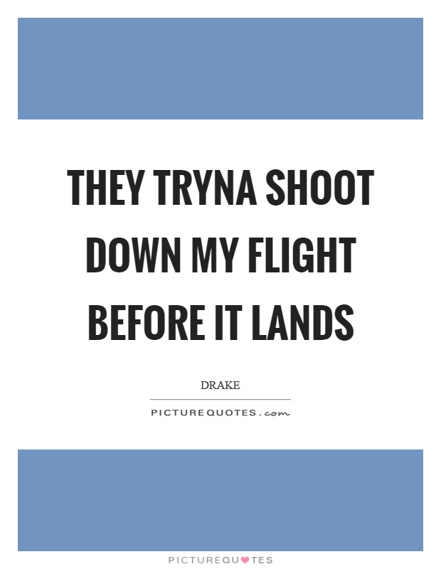 They tryna shoot down my flight before it lands Picture Quote #1
