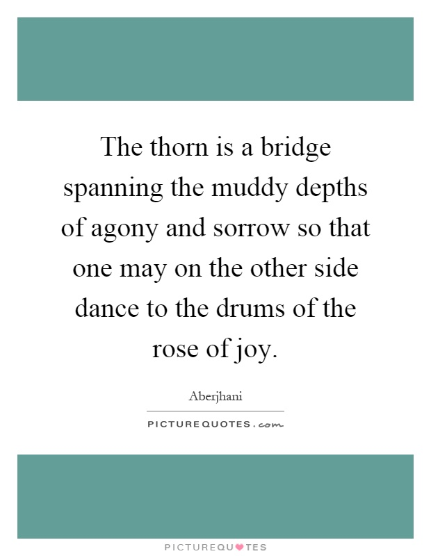 The thorn is a bridge spanning the muddy depths of agony and sorrow so that one may on the other side dance to the drums of the rose of joy Picture Quote #1