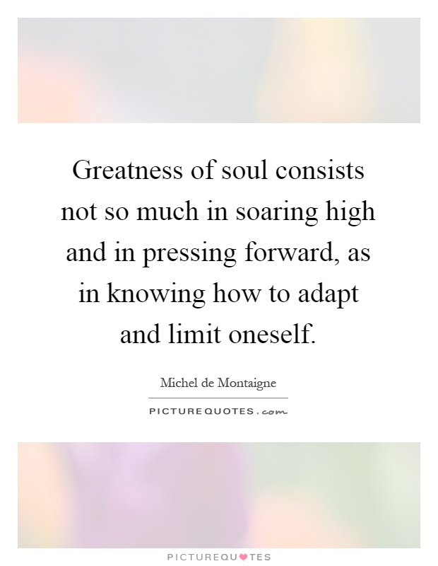 Greatness of soul consists not so much in soaring high and in pressing forward, as in knowing how to adapt and limit oneself Picture Quote #1