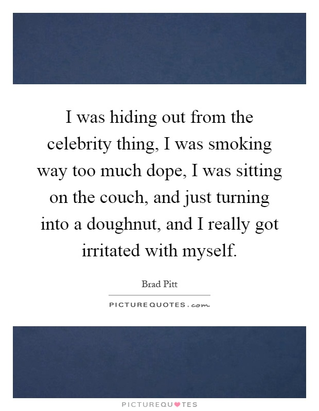 I was hiding out from the celebrity thing, I was smoking way too much dope, I was sitting on the couch, and just turning into a doughnut, and I really got irritated with myself Picture Quote #1