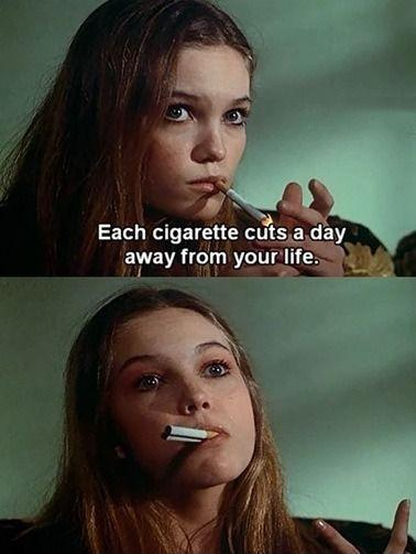 Each cigarette cuts a day away form your life Picture Quote #1