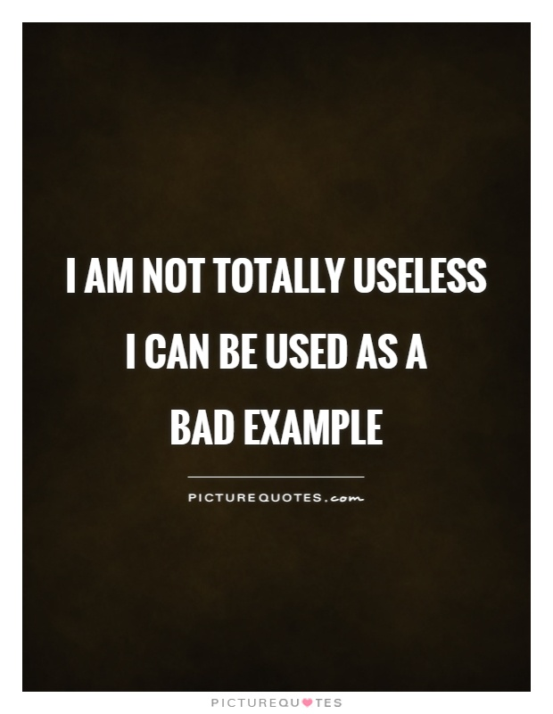 I am not totally useless I can be used as a  bad example Picture Quote #1