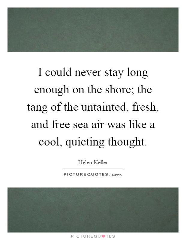 I could never stay long enough on the shore; the tang of the untainted, fresh, and free sea air was like a cool, quieting thought Picture Quote #1