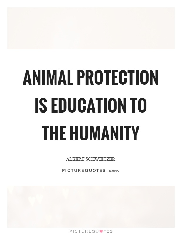 Animal Protection Is Education To The Humanity Picture Quotes