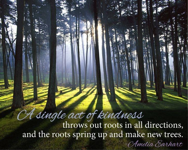 A single act of kindness throws out roots in all directions, and the roots spring up and make new trees Picture Quote #1