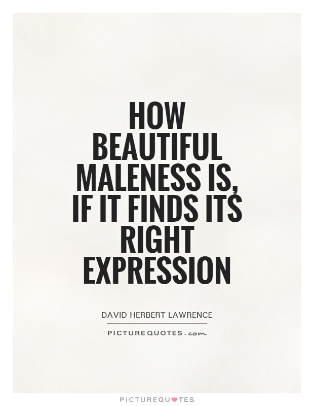 How beautiful maleness is, if it finds its right expression Picture Quote #1