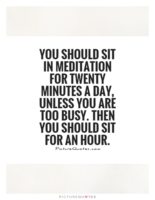 You should sit in meditation for twenty minutes a day, unless you are too busy. Then you should sit for an hour Picture Quote #1