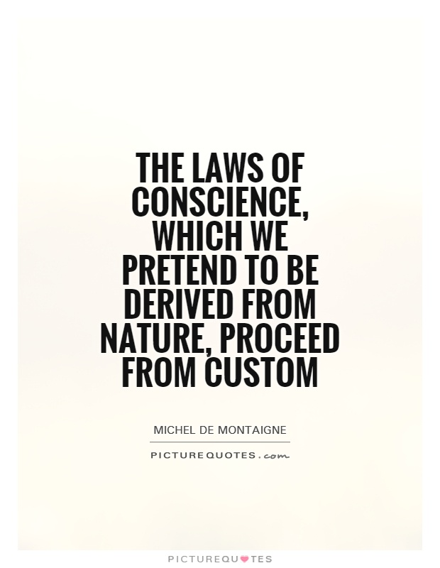 The laws of conscience, which we pretend to be derived from nature, proceed from custom Picture Quote #1