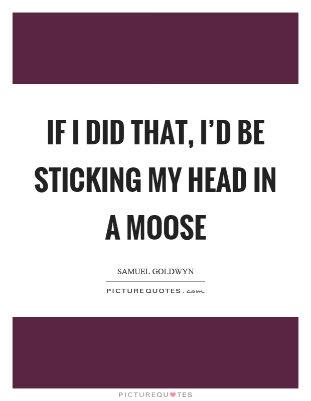 If I did that, I'd be sticking my head in a moose Picture Quote #1