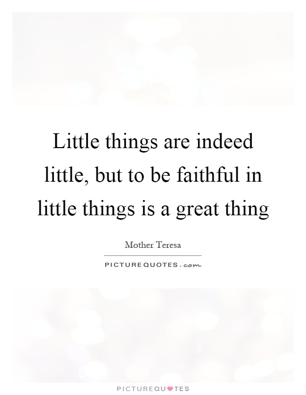 Little things are indeed little, but to be faithful in little things is a great thing Picture Quote #1