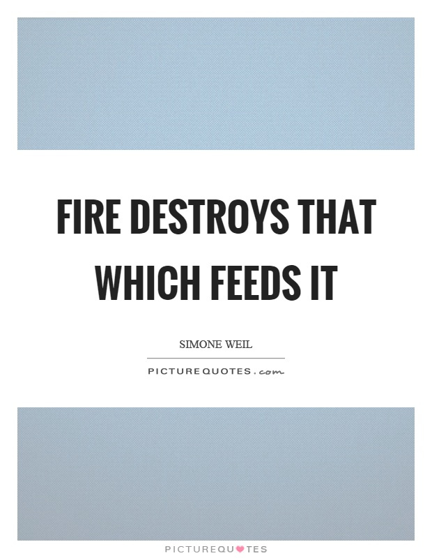 Fire destroys that which feeds it Picture Quote #1