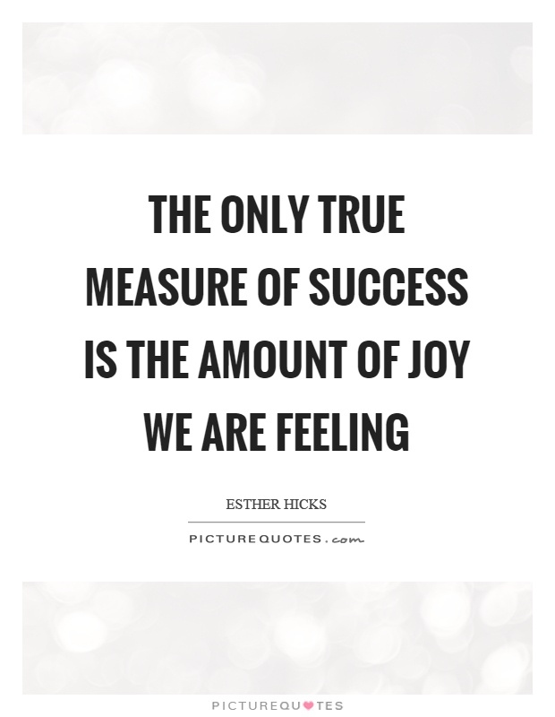 The only true measure of success is the amount of joy we are feeling Picture Quote #1