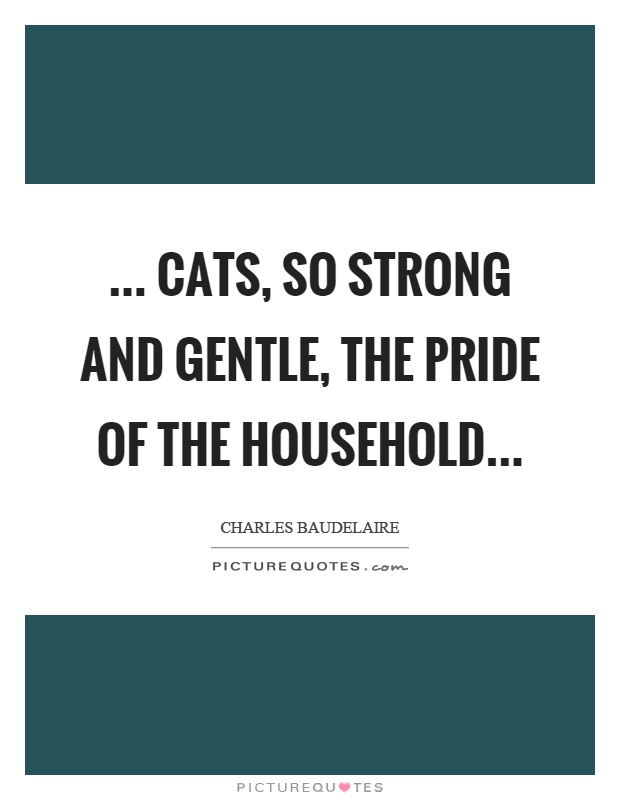 ... cats, so strong and gentle, the pride of the household Picture Quote #1
