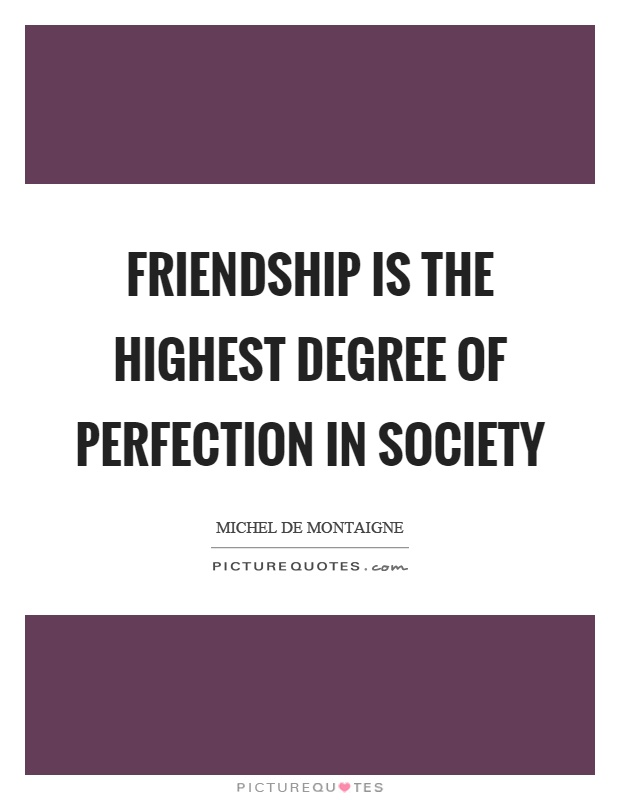 Friendship is the highest degree of perfection in society Picture Quote #1