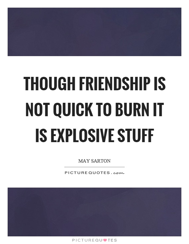Though friendship is not quick to burn it is explosive stuff Picture Quote #1
