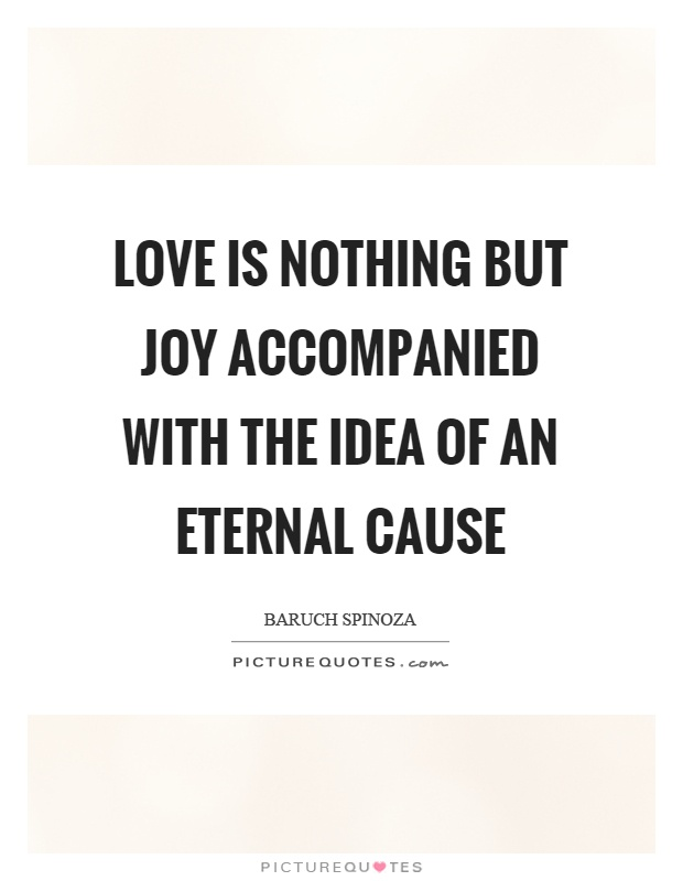 Love is nothing but joy accompanied with the idea of an eternal cause Picture Quote #1