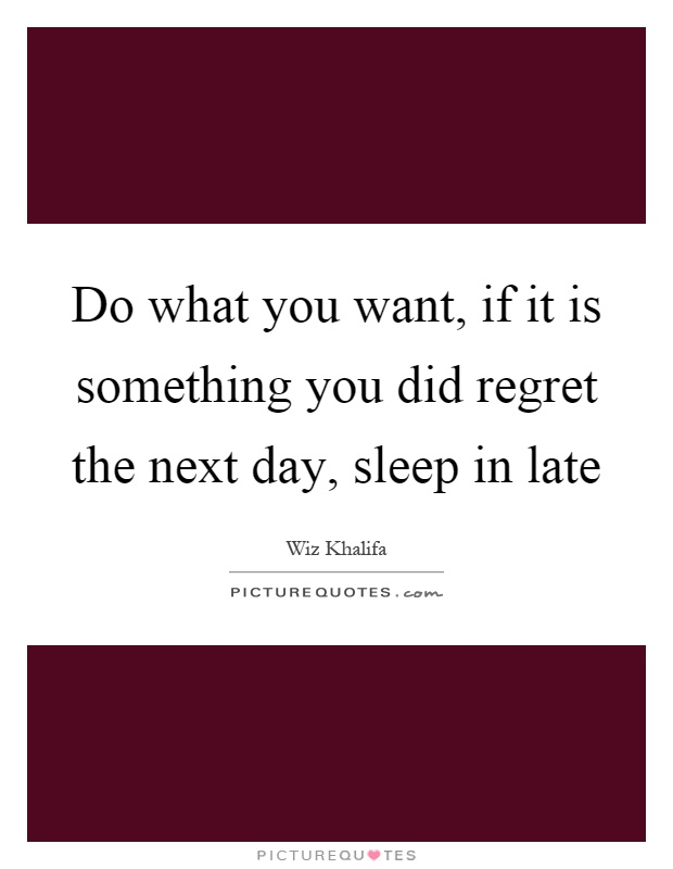 Do what you want, if it is something you did regret the next day, sleep in late Picture Quote #1