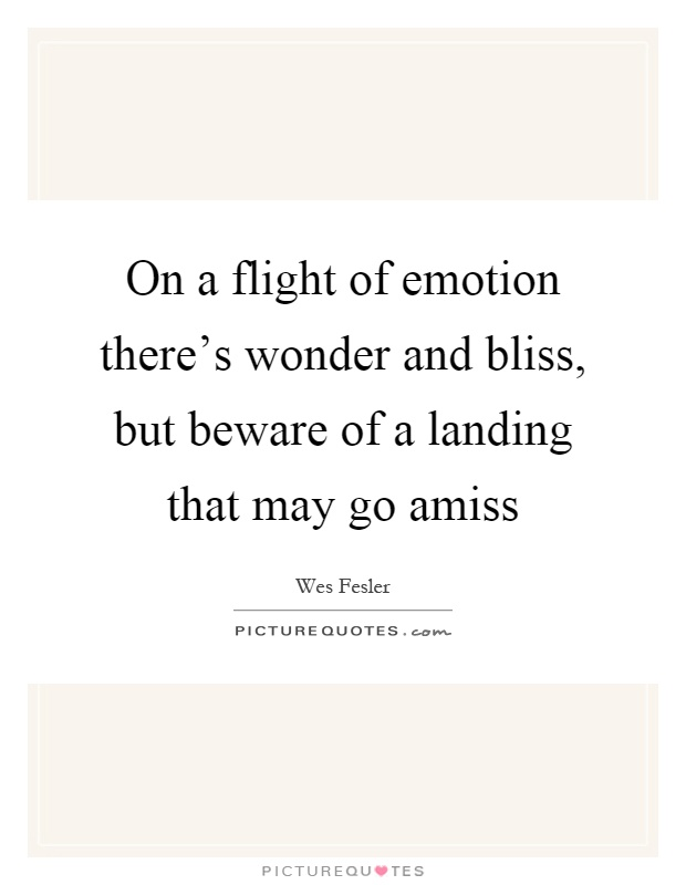 On a flight of emotion there's wonder and bliss, but beware of a landing that may go amiss Picture Quote #1