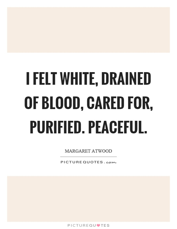 I felt white, drained of blood, cared for, purified. Peaceful Picture Quote #1