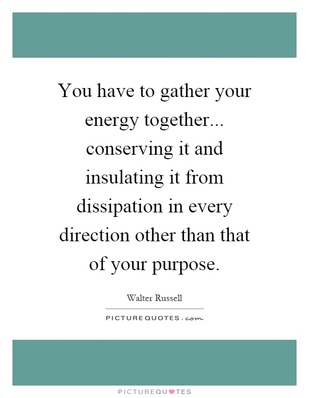 You have to gather your energy together... conserving it and insulating it from dissipation in every direction other than that of your purpose Picture Quote #1