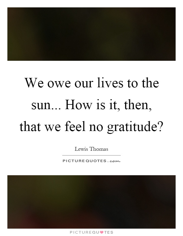 We owe our lives to the sun... How is it, then, that we feel no gratitude? Picture Quote #1