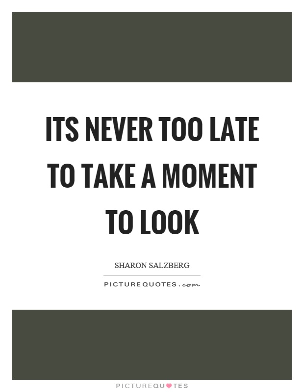 Its never too late to take a moment to look Picture Quote #1