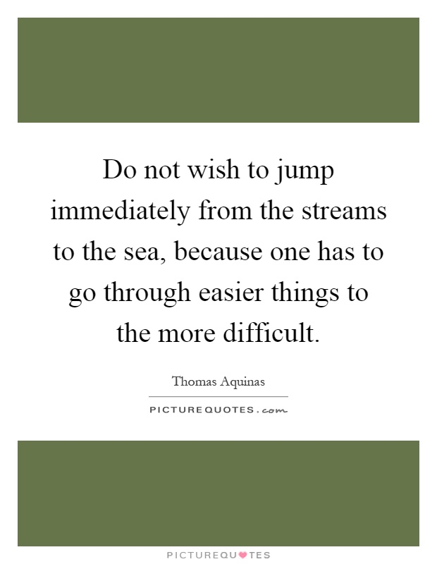 Do not wish to jump immediately from the streams to the sea, because one has to go through easier things to the more difficult Picture Quote #1