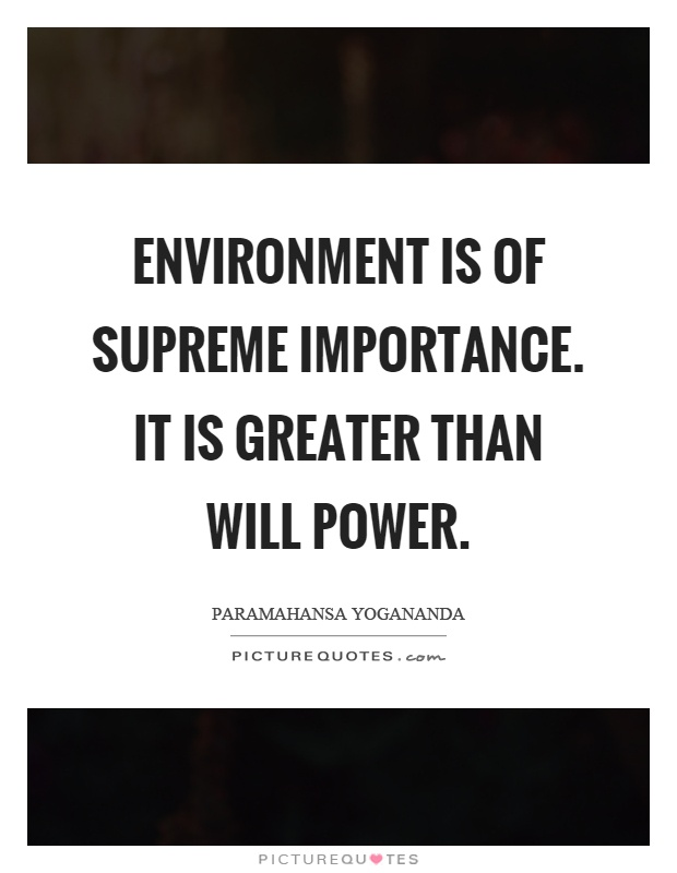 Environment is of supreme importance. It is greater than will power Picture Quote #1