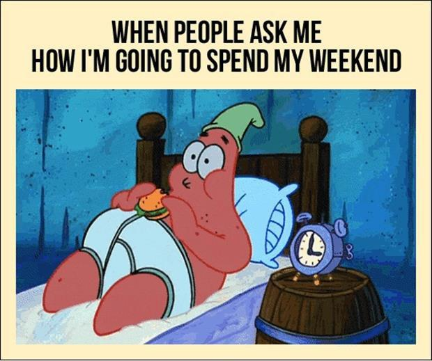 When people ask me how I'm going to spend my weekend Picture Quote #1