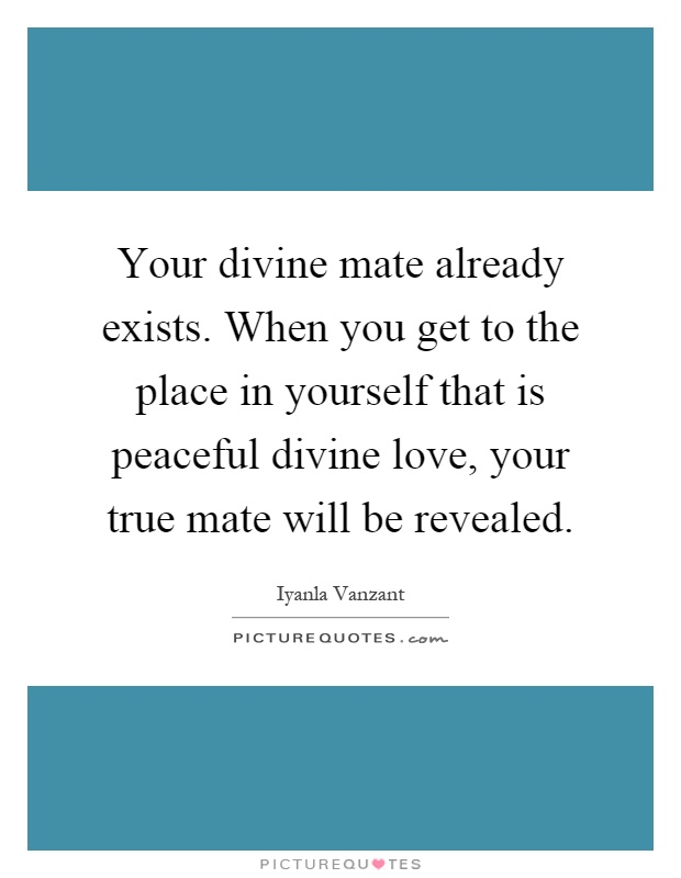 Your divine mate already exists. When you get to the place in yourself that is peaceful divine love, your true mate will be revealed Picture Quote #1
