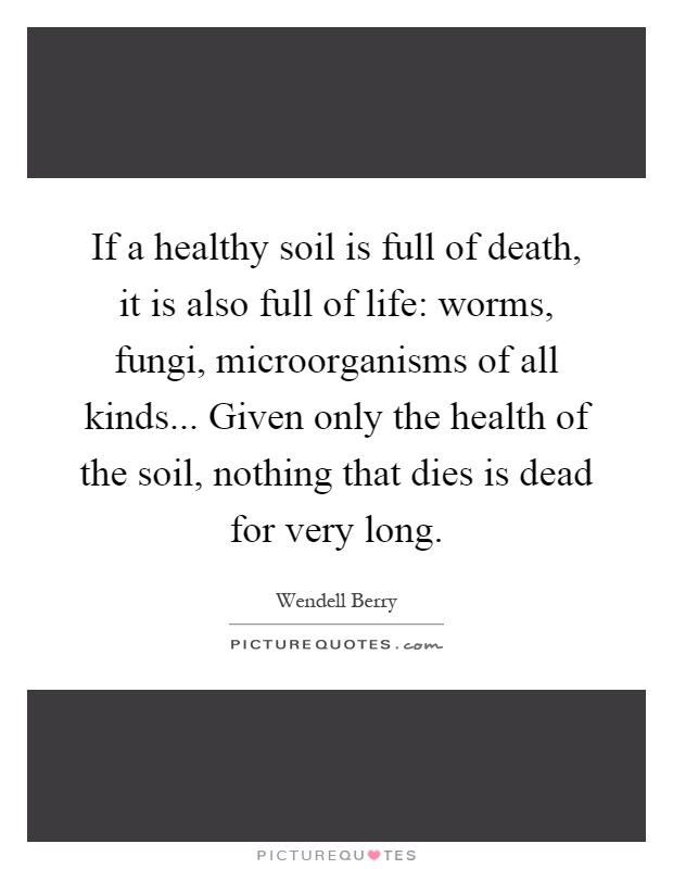 If a healthy soil is full of death, it is also full of life: worms, fungi, microorganisms of all kinds... Given only the health of the soil, nothing that dies is dead for very long Picture Quote #1