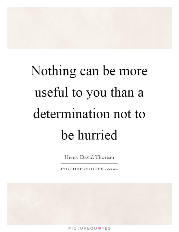 Nothing can be more useful to you than a determination not to be hurried Picture Quote #1