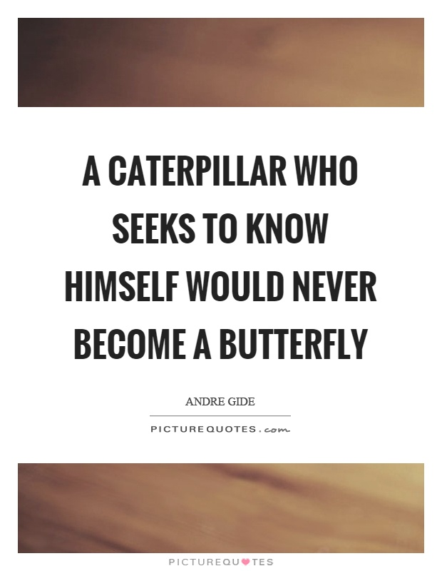 A caterpillar who seeks to know himself would never become a butterfly Picture Quote #1