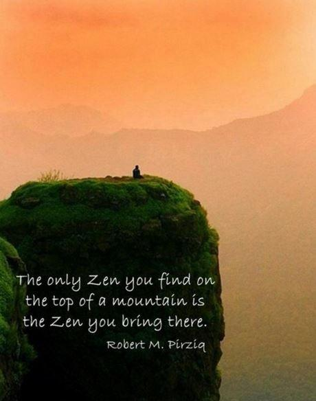 The only Zen you find at the top of the mountain is the Zen you bring with you Picture Quote #1