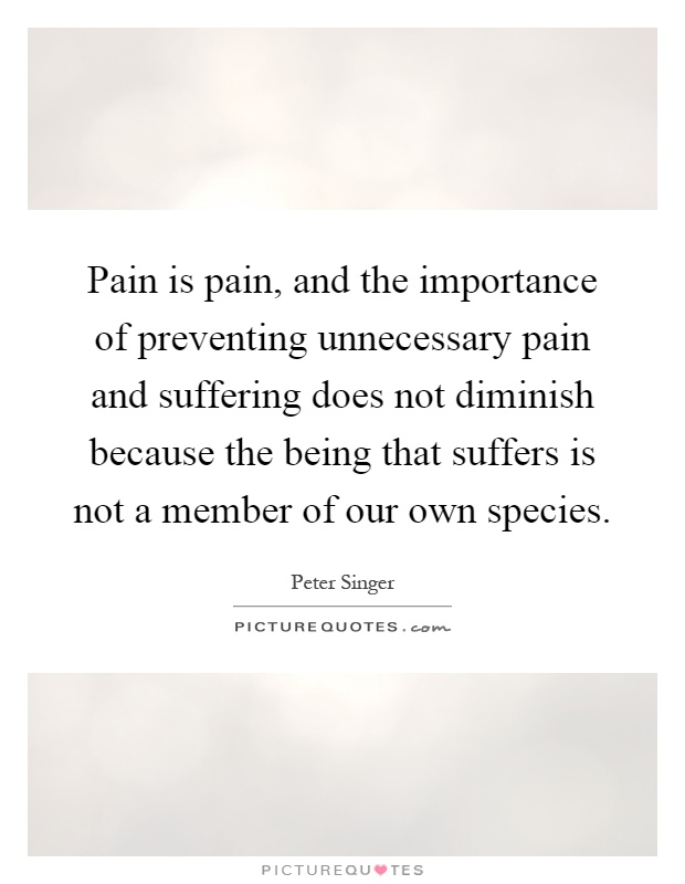 Pain is pain, and the importance of preventing unnecessary pain and suffering does not diminish because the being that suffers is not a member of our own species Picture Quote #1