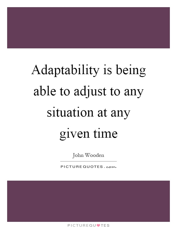 Adaptability is being able to adjust to any situation at any given time Picture Quote #1