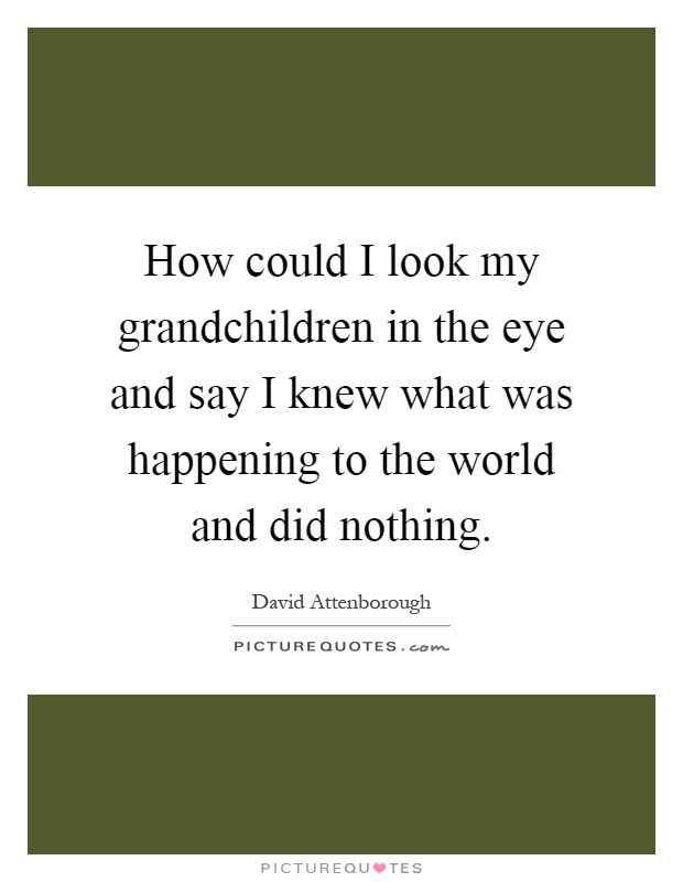 How could I look my grandchildren in the eye and say I knew what was happening to the world and did nothing Picture Quote #1