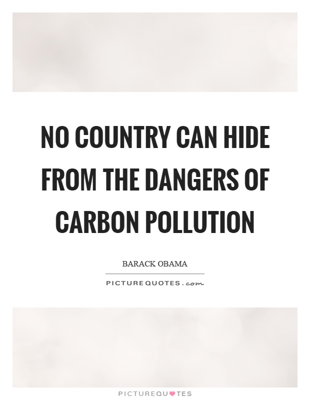 No country can hide from the dangers of carbon pollution Picture Quote #1