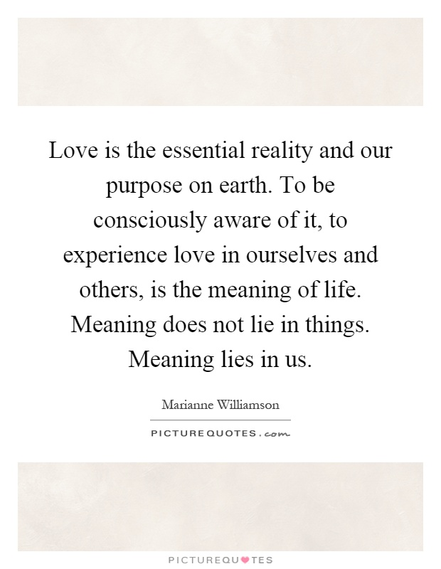 Love is the essential reality and our purpose on earth. To be consciously aware of it, to experience love in ourselves and others, is the meaning of life. Meaning does not lie in things. Meaning lies in us Picture Quote #1