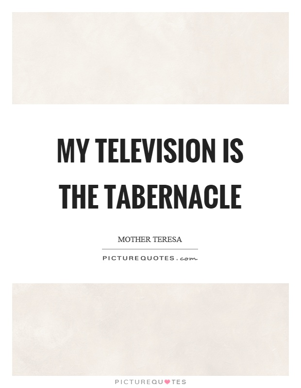 My television is the tabernacle Picture Quote #1