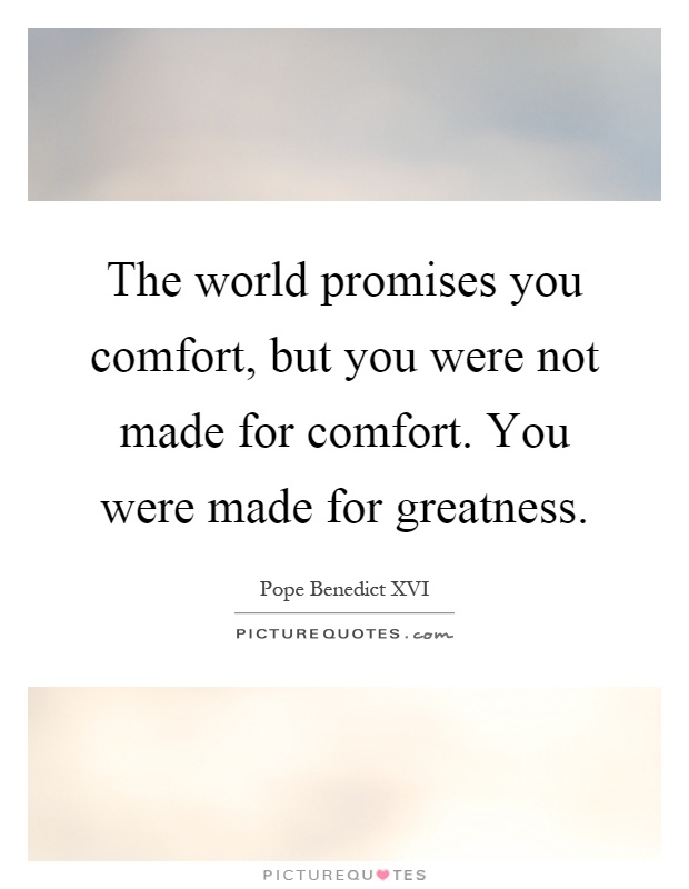 The world promises you comfort, but you were not made for comfort. You were made for greatness Picture Quote #1