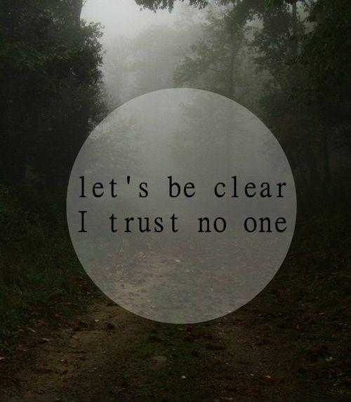Let's be clear. I trust no one Picture Quote #1