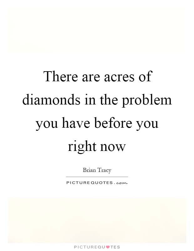 There are acres of diamonds in the problem you have before you right now Picture Quote #1