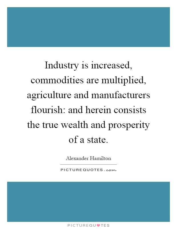 Industry is increased, commodities are multiplied, agriculture and manufacturers flourish: and herein consists the true wealth and prosperity of a state Picture Quote #1