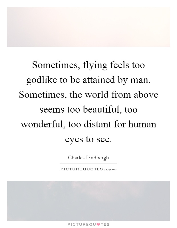 Sometimes, flying feels too godlike to be attained by man. Sometimes, the world from above seems too beautiful, too wonderful, too distant for human eyes to see Picture Quote #1