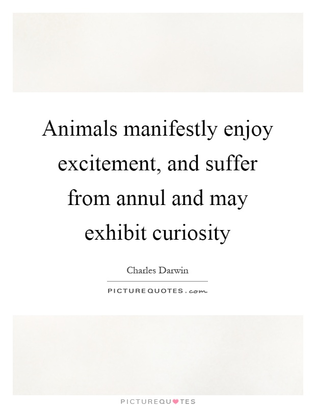 Animals manifestly enjoy excitement, and suffer from annul and may exhibit curiosity Picture Quote #1