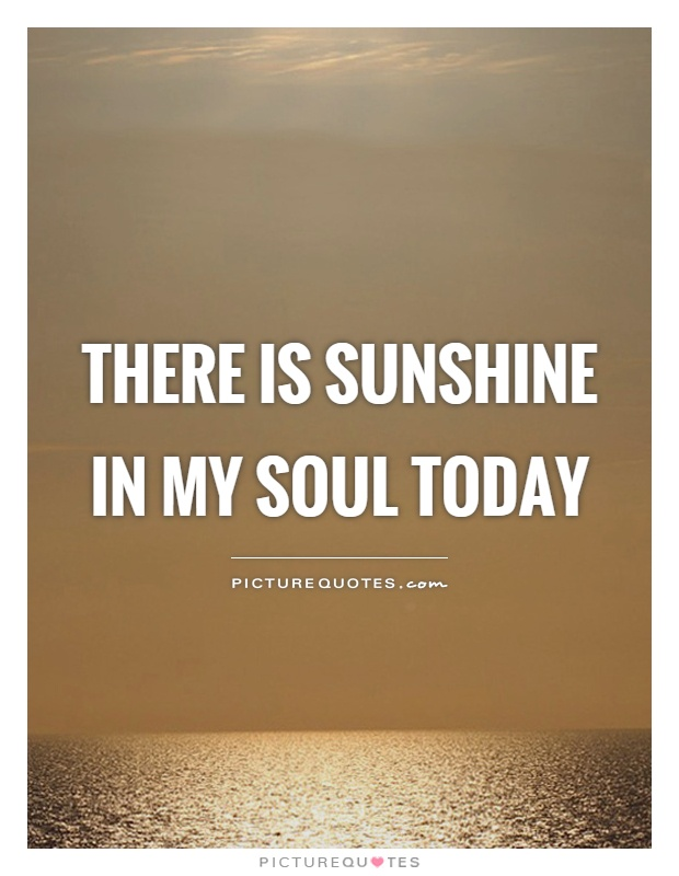 There is sunshine in my soul today Picture Quote #1