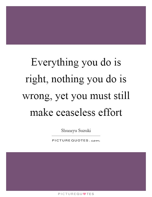 Everything you do is right, nothing you do is wrong, yet you must still make ceaseless effort Picture Quote #1