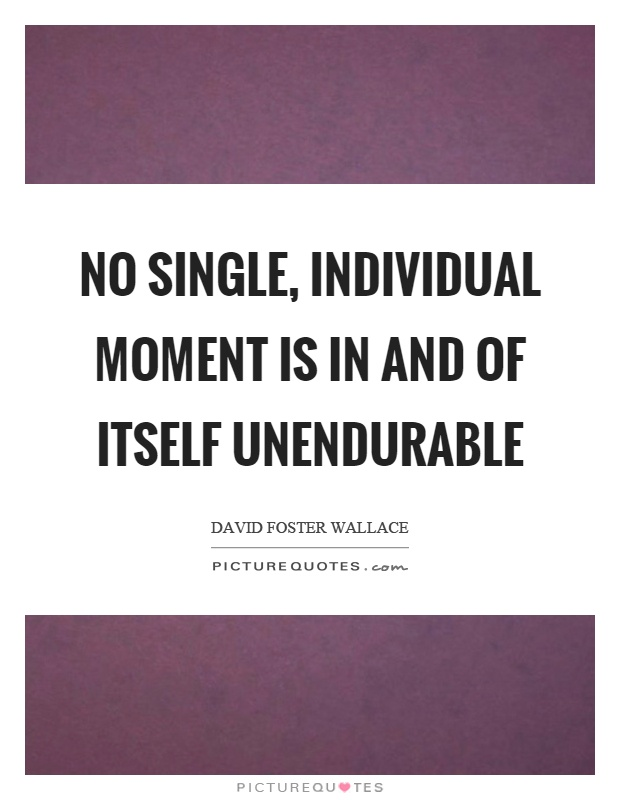No single, individual moment is in and of itself unendurable Picture Quote #1