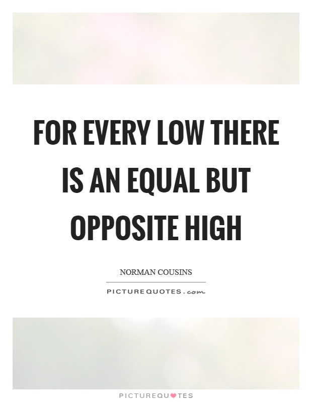For every low there is an equal but opposite high Picture Quote #1